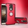 Eiroo Mage Fit Huawei Mate 9 Standlı Ultra Koruma Kırmızı Kılıf - Resim 6