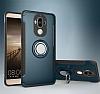 Eiroo Mage Fit Huawei Mate 9 Standlı Ultra Koruma Lacivert Kılıf - Resim 7