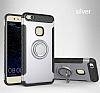 Eiroo Mage Fit Huawei P10 Lite Standlı Ultra Koruma Silver Kılıf - Resim 9