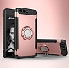Eiroo Mage Fit Huawei P10 Plus Standlı Ultra Koruma Rose Gold Kılıf - Resim 7