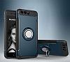 Eiroo Mage Fit Huawei P10 Plus Standlı Ultra Koruma Lacivert Kılıf - Resim 7