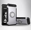 Eiroo Mage Fit Huawei P10 Plus Standlı Ultra Koruma Silver Kılıf - Resim 6