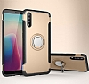 Eiroo Mage Fit Huawei P20 Standlı Ultra Koruma Gold Kılıf - Resim 6