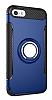 Eiroo Mage Fit iPhone SE / 5 / 5S Standlı Ultra Koruma Lacivert Kılıf - Resim 9