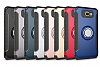 Eiroo Mage Fit Samsung Galaxy J5 Prime Standlı Ultra Koruma Dark Silver Kılıf - Resim 1