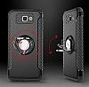 Eiroo Mage Fit Samsung Galaxy J7 Prime Standlı Ultra Koruma Kırmızı Kılıf - Resim 4