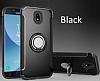 Eiroo Mage Fit Samsung Galaxy J7 Pro 2017 Standlı Ultra Koruma Siyah Kılıf - Resim 6