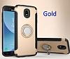 Eiroo Mage Fit Samsung Galaxy J7 Pro 2017 Standlı Ultra Koruma Gold Kılıf - Resim 6