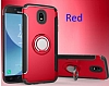 Eiroo Mage Fit Samsung Galaxy J7 Pro 2017 Standlı Ultra Koruma Kırmızı Kılıf - Resim 6