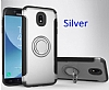 Eiroo Mage Fit Samsung Galaxy J7 Pro 2017 Standlı Ultra Koruma Silver Kılıf - Resim 6