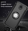 Eiroo Mage Fit Samsung Galaxy J7 Pro 2017 Standlı Ultra Koruma Lacivert Kılıf - Resim 1