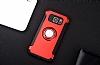 Eiroo Mage Fit Samsung Galaxy S7 Edge Standlı Ultra Koruma Kırmızı Kılıf - Resim 1