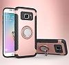 Eiroo Mage Fit Samsung Galaxy S7 Standlı Ultra Koruma Rose Gold Kılıf - Resim 9