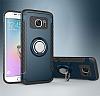 Eiroo Mage Fit Samsung Galaxy S7 Standlı Ultra Koruma Lacivert Kılıf - Resim 9