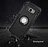 Eiroo Mage Fit Samsung Galaxy S8 Standlı Ultra Koruma Lacivert Kılıf - Resim 1