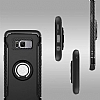 Eiroo Mage Fit Samsung Galaxy S8 Standlı Ultra Koruma Lacivert Kılıf - Resim 6