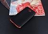 Eiroo Matte Fit Casper Via A1 Kırmızı Kenarlı Siyah Silikon Kılıf - Resim 1