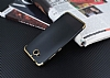 Eiroo Matte Fit Casper Via A1 Gold Kenarlı Siyah Silikon Kılıf - Resim 2