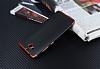 Eiroo Matte Fit Casper Via A1 Kırmızı Kenarlı Siyah Silikon Kılıf - Resim 2