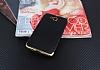 Eiroo Matte Fit Casper Via A1 Gold Kenarlı Siyah Silikon Kılıf - Resim 1