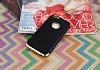 Eiroo Matte Fit iPhone 6 / 6S Gold Kenarlı Siyah Silikon Kılıf - Resim 1