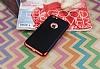 Eiroo Matte Fit iPhone 6 / 6S Kırmızı Kenarlı Siyah Silikon Kılıf - Resim 1