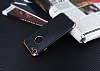 Eiroo Matte Fit iPhone 7 Rose Gold Kenarlı Siyah Silikon Kılıf - Resim 2