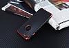 Eiroo Matte Fit iPhone 7 / 8 Kırmızı Kenarlı Siyah Silikon Kılıf - Resim 2