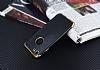Eiroo Matte Fit iPhone 7 Gold Kenarlı Siyah Silikon Kılıf - Resim 2