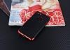 Eiroo Matte Fit iPhone 7 / 8 Kırmızı Kenarlı Siyah Silikon Kılıf - Resim 1