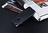 Eiroo Matte Fit iPhone 7 Dark Silver Kenarlı Siyah Silikon Kılıf - Resim 2