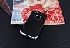 Eiroo Matte Fit iPhone 7 Silver Kenarlı Siyah Silikon Kılıf - Resim 1