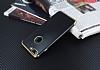 Eiroo Matte Fit iPhone 7 Plus / 8 Plus Gold Kenarlı Siyah Silikon Kılıf - Resim 2