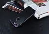 Eiroo Matte Fit iPhone 7 Plus / 8 Plus Dark Silver Kenarlı Siyah Silikon Kılıf - Resim 2