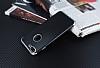 Eiroo Matte Fit iPhone 7 Plus / 8 Plus Silver Kenarlı Siyah Silikon Kılıf - Resim 2