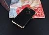 Eiroo Matte Fit iPhone 7 Plus Gold Kenarlı Siyah Silikon Kılıf - Resim 1