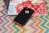 Eiroo Matte Fit iPhone SE / 5 / 5S Kırmızı Kenarlı Siyah Silikon Kılıf - Resim 1