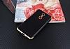 Eiroo Matte Fit Lenovo K6 Note Gold Kenarlı Siyah Silikon Kılıf - Resim 1