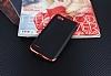 Eiroo Matte Fit LG Q6 Kırmızı Kenarlı Siyah Silikon Kılıf - Resim 1