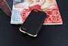 Eiroo Matte Fit LG Q6 Gold Kenarlı Siyah Silikon Kılıf - Resim 1