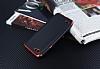 Eiroo Matte Fit LG Q6 Kırmızı Kenarlı Siyah Silikon Kılıf - Resim 2