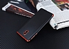 Eiroo Matte Fit Nokia 3 Kırmızı Kenarlı Siyah Silikon Kılıf - Resim 2