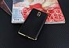 Eiroo Matte Fit Nokia 3 Gold Kenarlı Siyah Silikon Kılıf - Resim 1