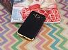 Eiroo Matte Fit Samsung Galaxy J3 Pro Gold Kenarlı Siyah Silikon Kılıf - Resim 1
