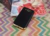 Eiroo Matte Fit Samsung Galaxy J7 2016 Gold Kenarlı Siyah Silikon Kılıf - Resim 1