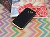 Eiroo Matte Fit Samsung Galaxy S7 Edge Gold Kenarlı Siyah Silikon Kılıf - Resim 1
