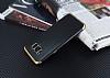 Eiroo Matte Fit Samsung Galaxy S8 Plus Gold Kenarlı Siyah Silikon Kılıf - Resim 2