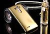 Eiroo Mirror Cover LG G4 Aynalı Kapaklı Uyku Modlu Gold Kılıf - Resim 6