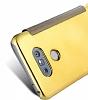 Eiroo Mirror Cover LG G5 Aynalı Kapaklı Gold Kılıf - Resim 1