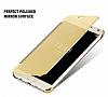 Eiroo Mirror Cover Samsung Galaxy A3 2016 Aynalı Kapaklı Gold Kılıf - Resim 1